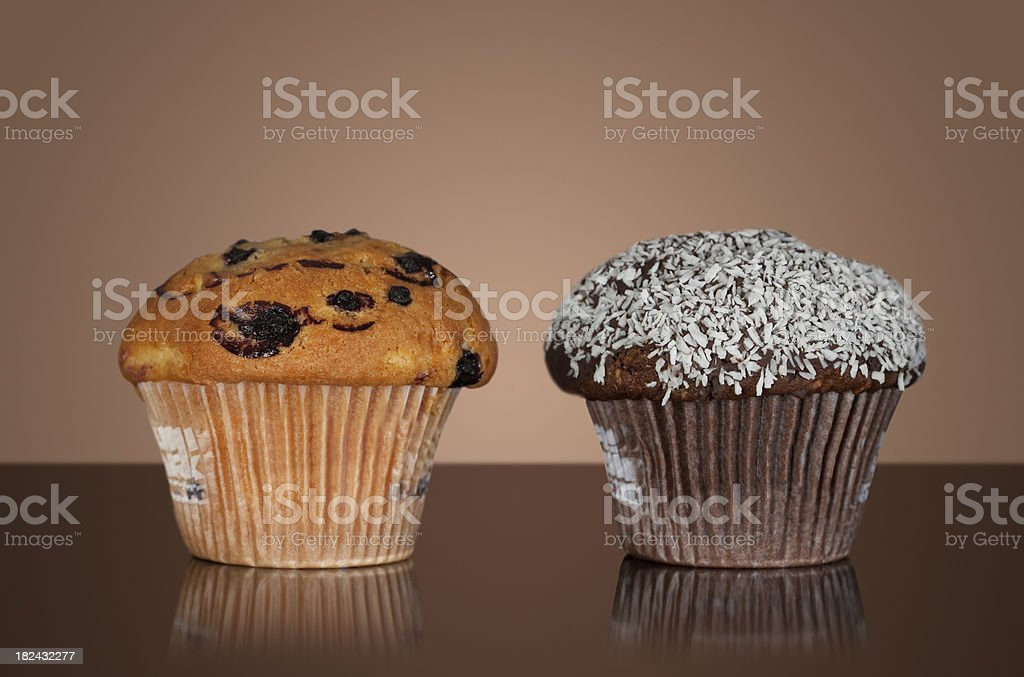 Two big tasty muffins stock photo