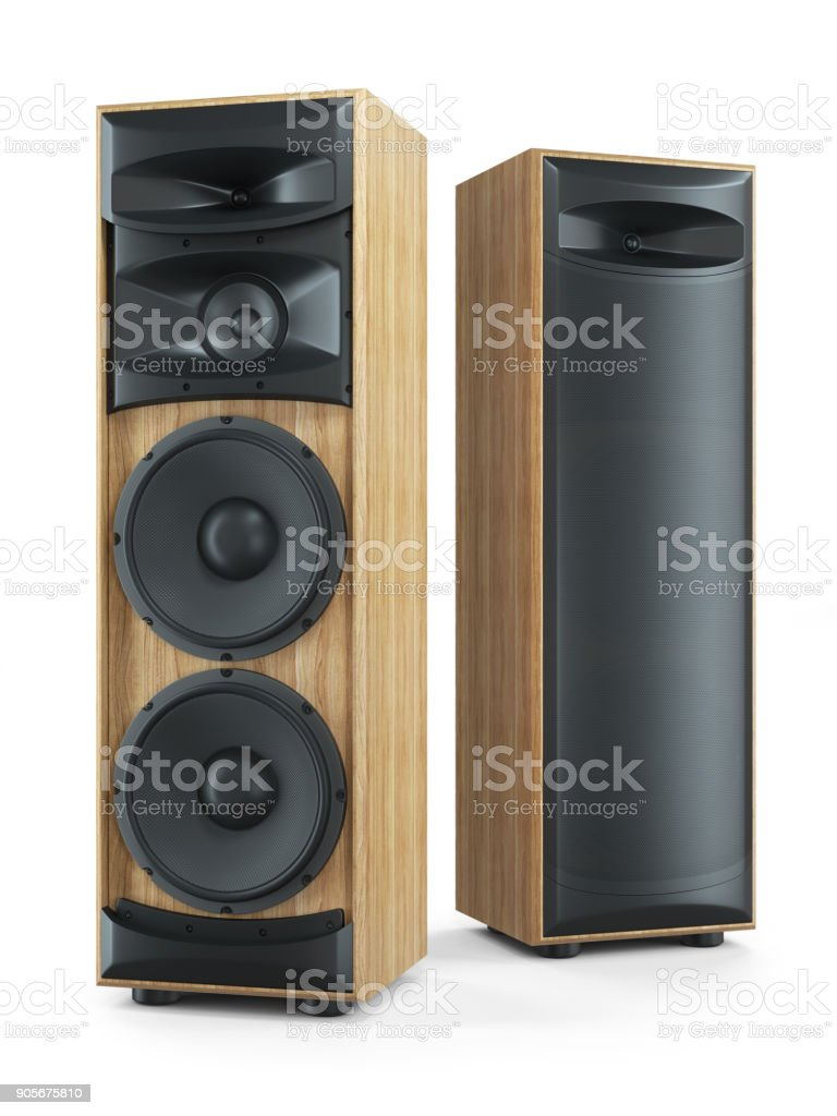 Two big tower sound speakers Hi-Fi stereo system. stock photo