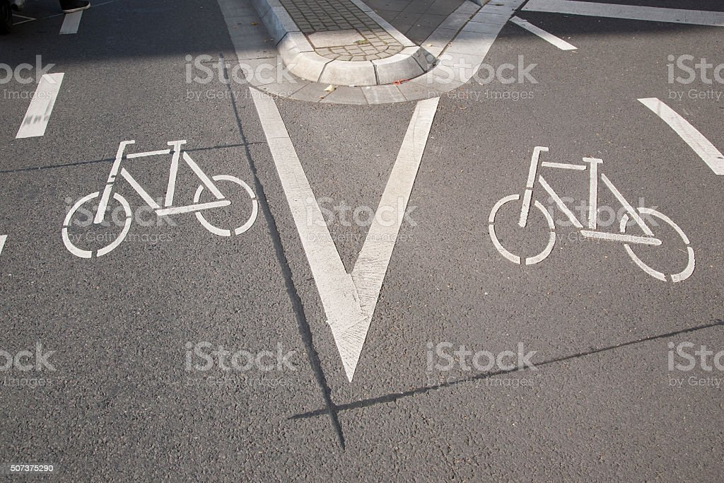 Two Bike Lane Symbol Bonn Stock Photo More Pictures Of Bicycle