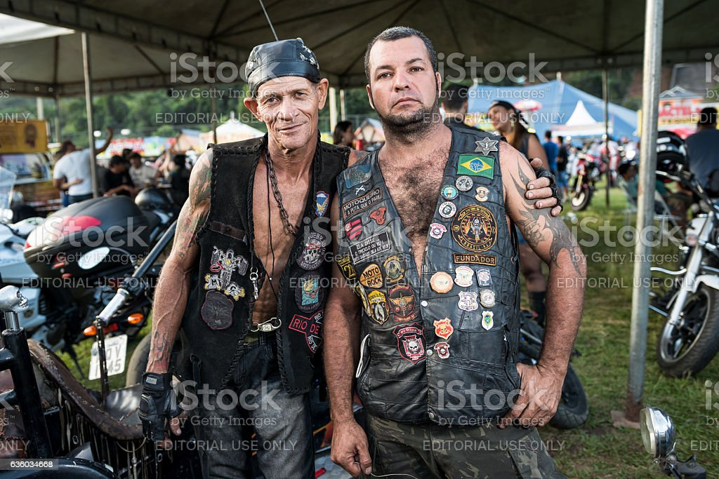 Two bikers at motorcycle festival, Rio de Janeiro State, Brazil stock photo