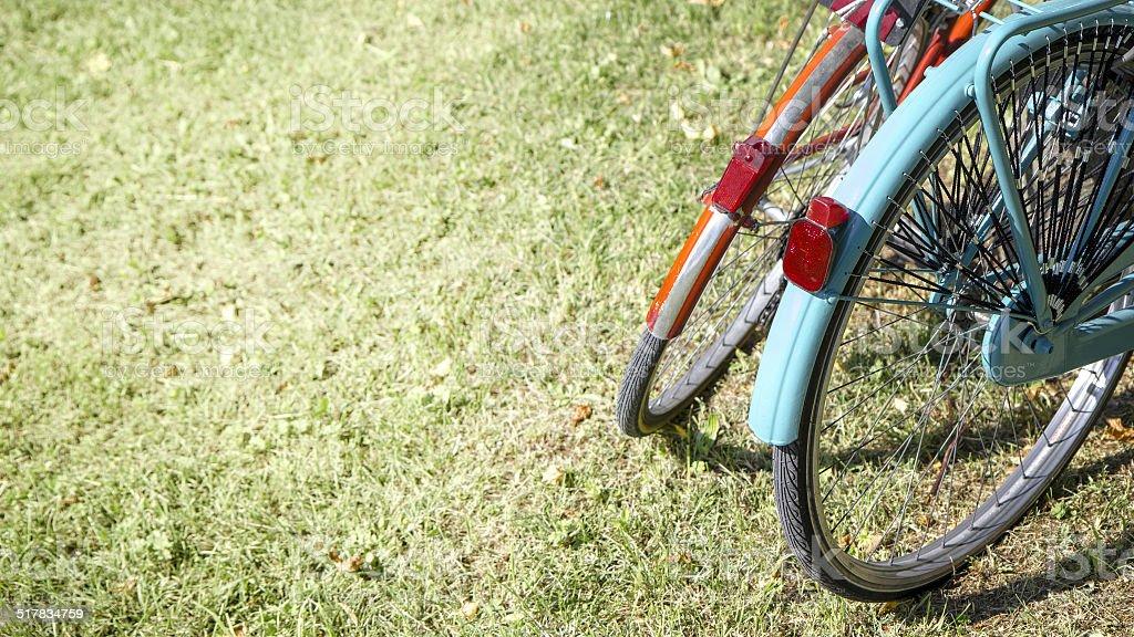 Two bikes on the grass stock photo