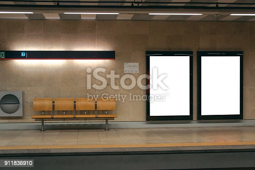 istock Two billboards inside underground station 911836910