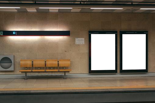 istock Two billboards inside underground station 911836910