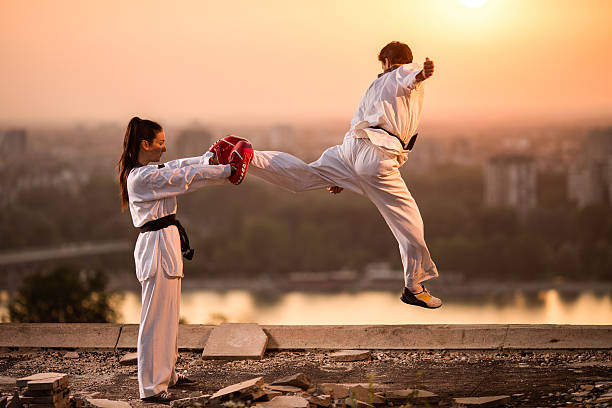 Two black belt sparring partners exercising at sunset. stock photo