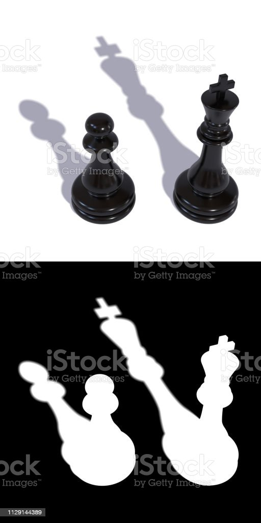 Two black chess pieces king and pawn stock photo