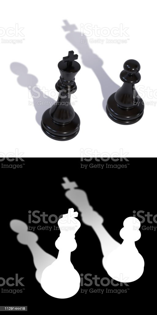 Two black chess pieces king and pawn with inverted shadows stock photo