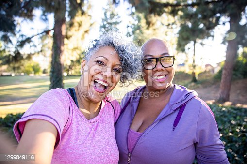 istock Two black lady friends taking selfies 1299849116