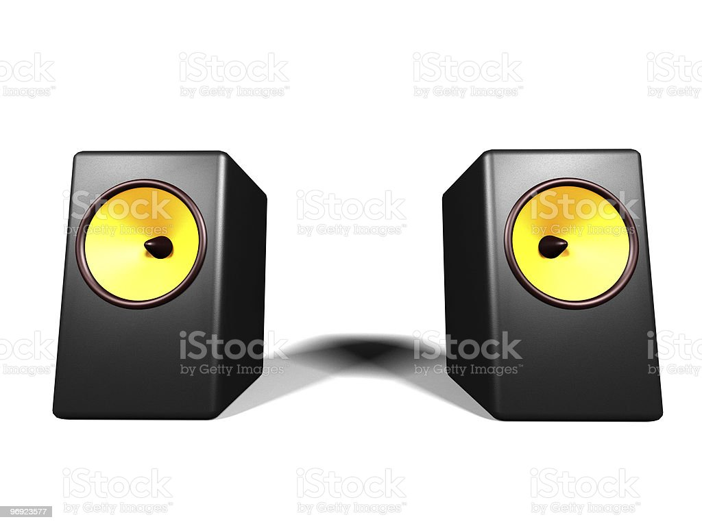 two black loudspeakers on the white background royalty-free stock photo