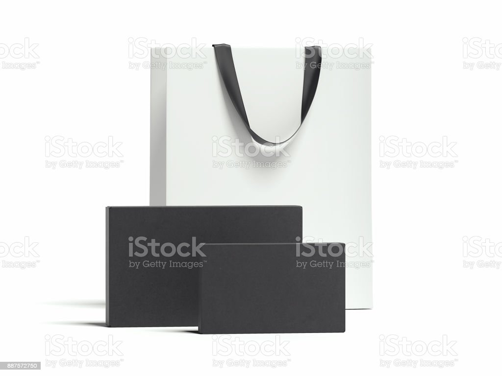 Two black packages and white shopping bag. 3d rendering stock photo