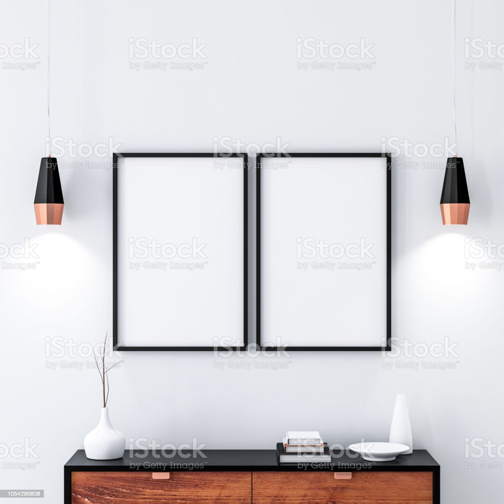 Two black poster Frames hanging on the wall in modern interior. 3d...