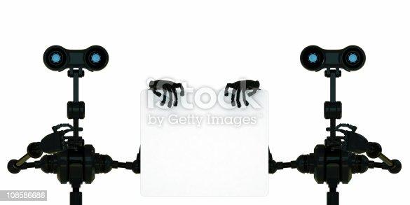 521048154 istock photo Two black stylish robots make business presentation 108586686