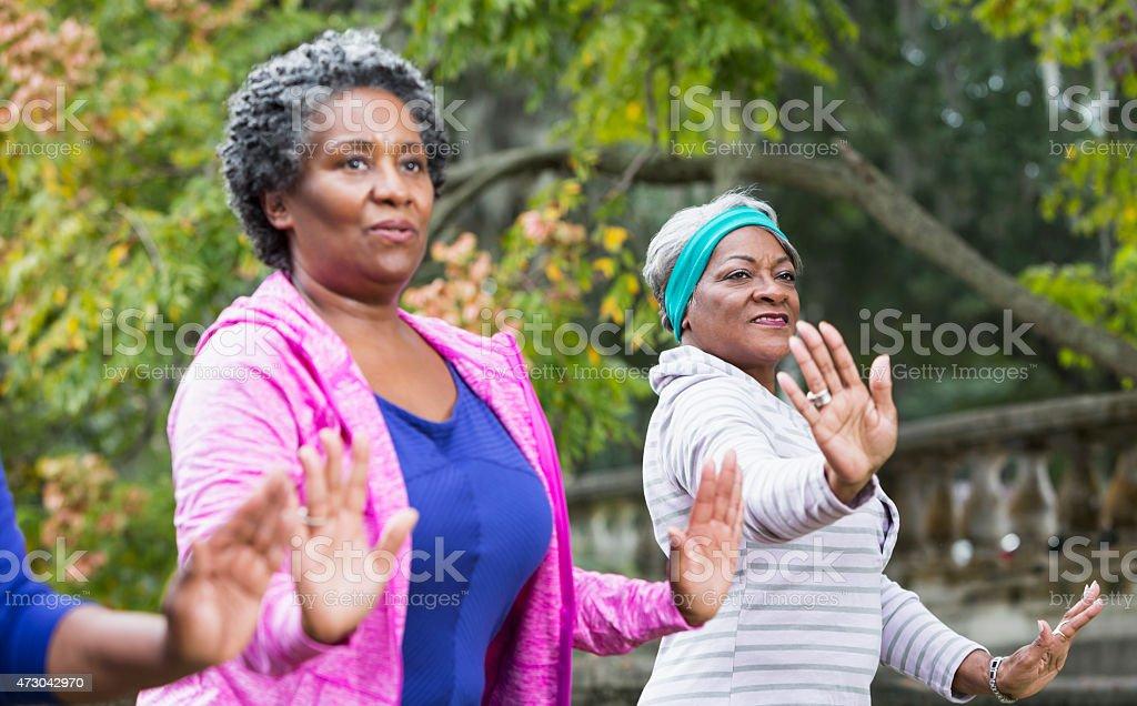Two black women practicing Tai Chi stock photo