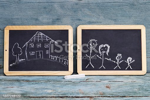 Two blackboards with drawings of a family and a house