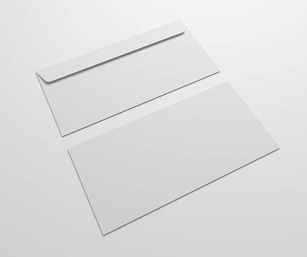 two blank 3d illustration envelopes mock up. - umschlagsvorlagen stock-fotos und bilder