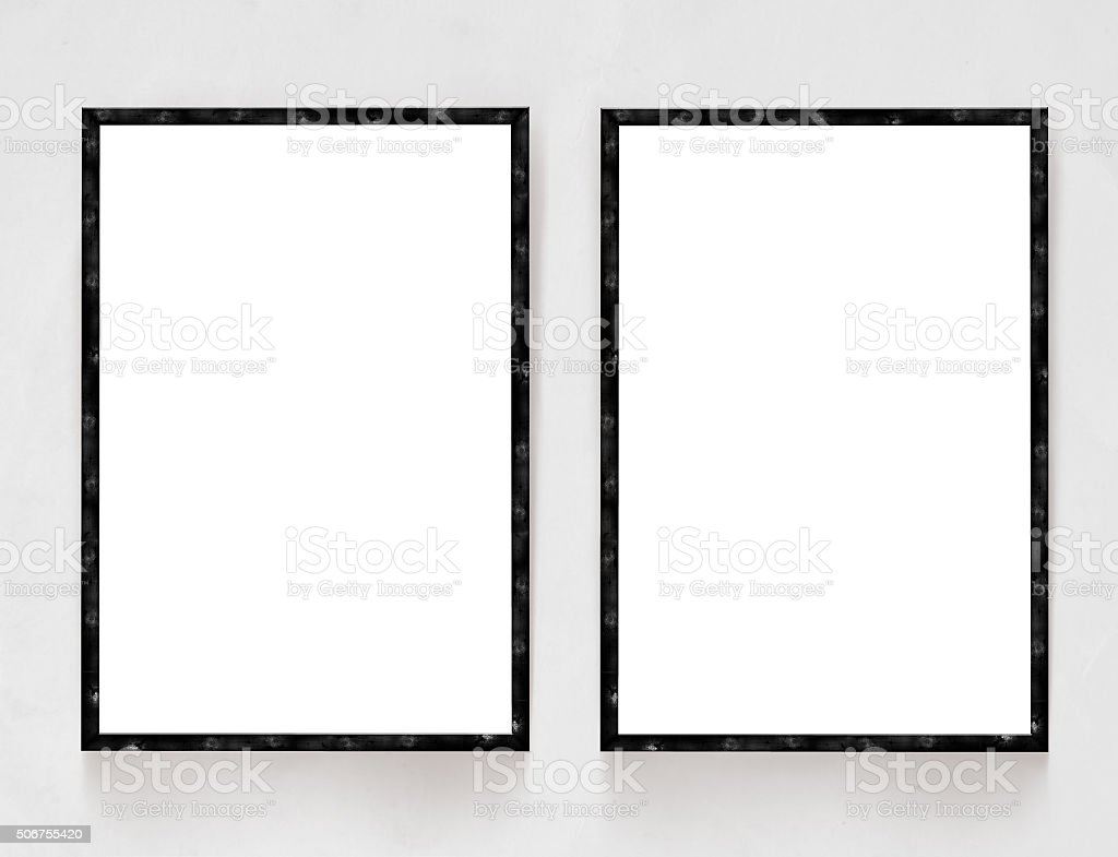 Two Blank Banners With Wooden Frame On Plaster Wall Background Stock ...