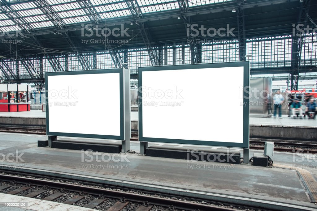 Two blank billboards at railroad station - foto stock