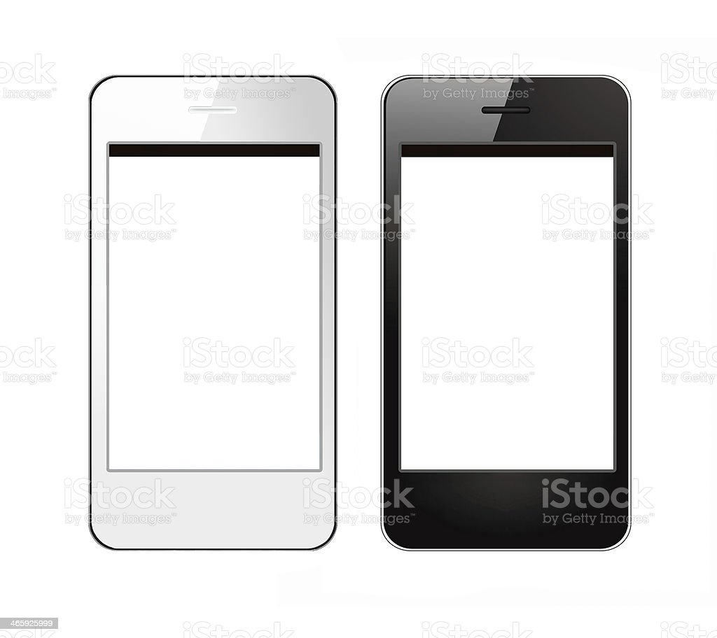 Two blank black and white smart phones isolated on white stock photo
