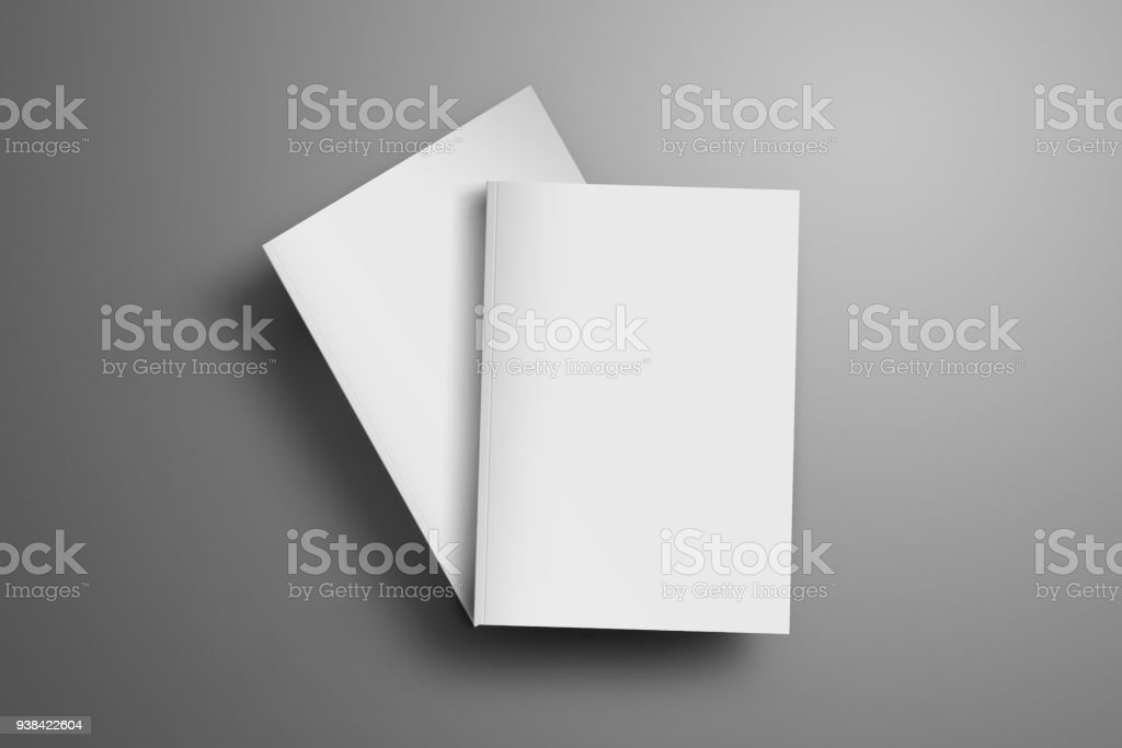 Two blank closed A4, (A5) magazines with soft realistic shadows isolated on gray background. stock photo