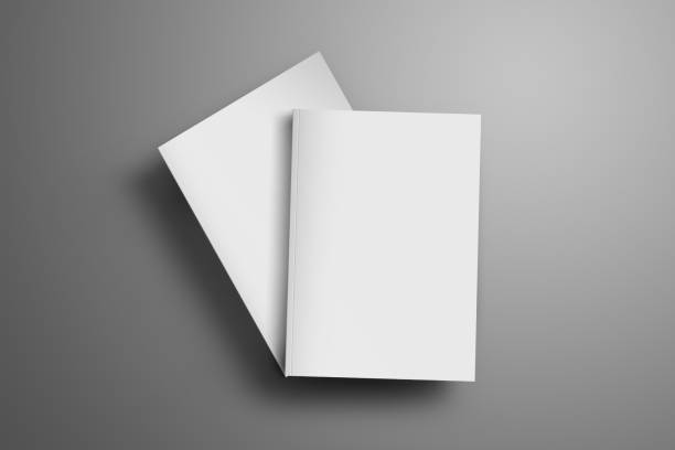 Two blank closed A4, (A5) magazines with soft realistic shadows isolated on gray background. Two blank closed A4, (A5) magazines with soft realistic shadows isolated on gray background. One of the brochures lies at an angle of the second brochure. Template can be used for your showcase. covering stock pictures, royalty-free photos & images