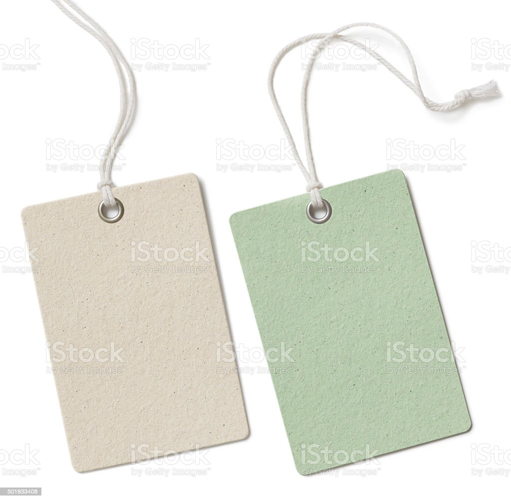 Two blank cloth tag or price label set isolated on stock photo