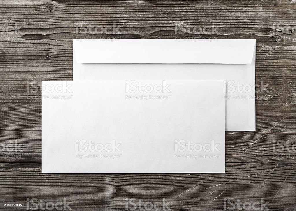 Two blank envelopes stock photo