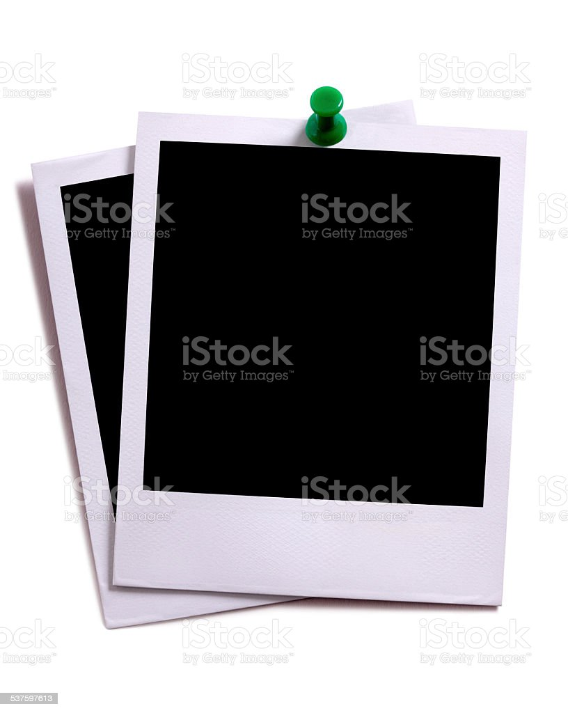 Two blank instant camera photo prints. stock photo