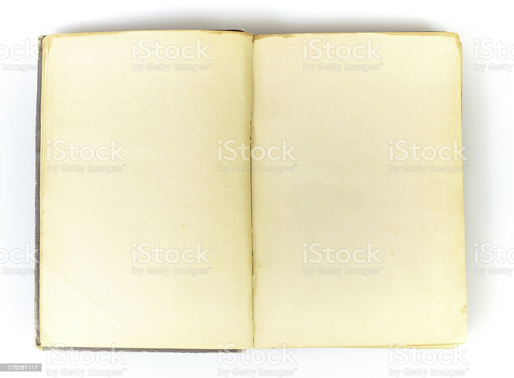 Two blank pages in old book royalty-free stock photo