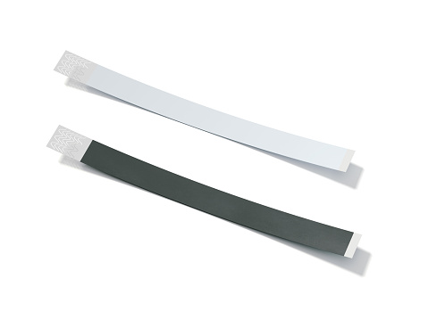 istock Two blank paper wirstbands. 3d rendering 846978874