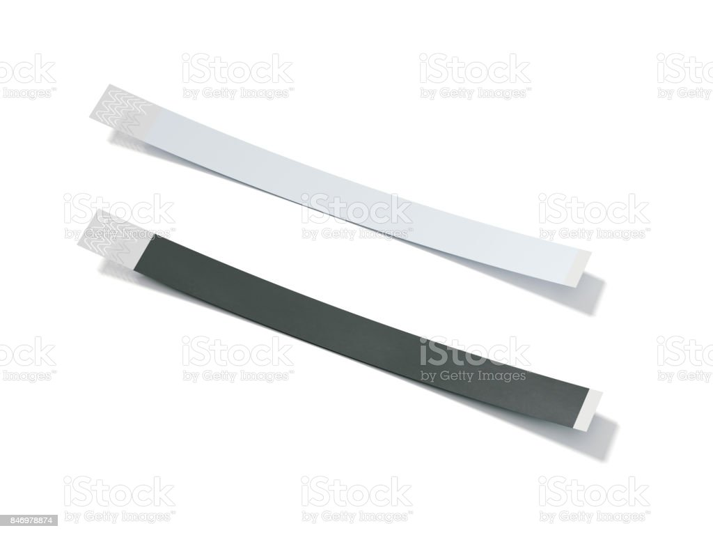 Two blank paper wirstbands. 3d rendering stock photo