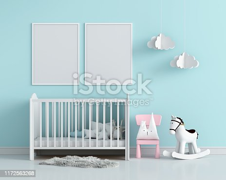 Two blank photo frame for mockup in child room, 3D rendering