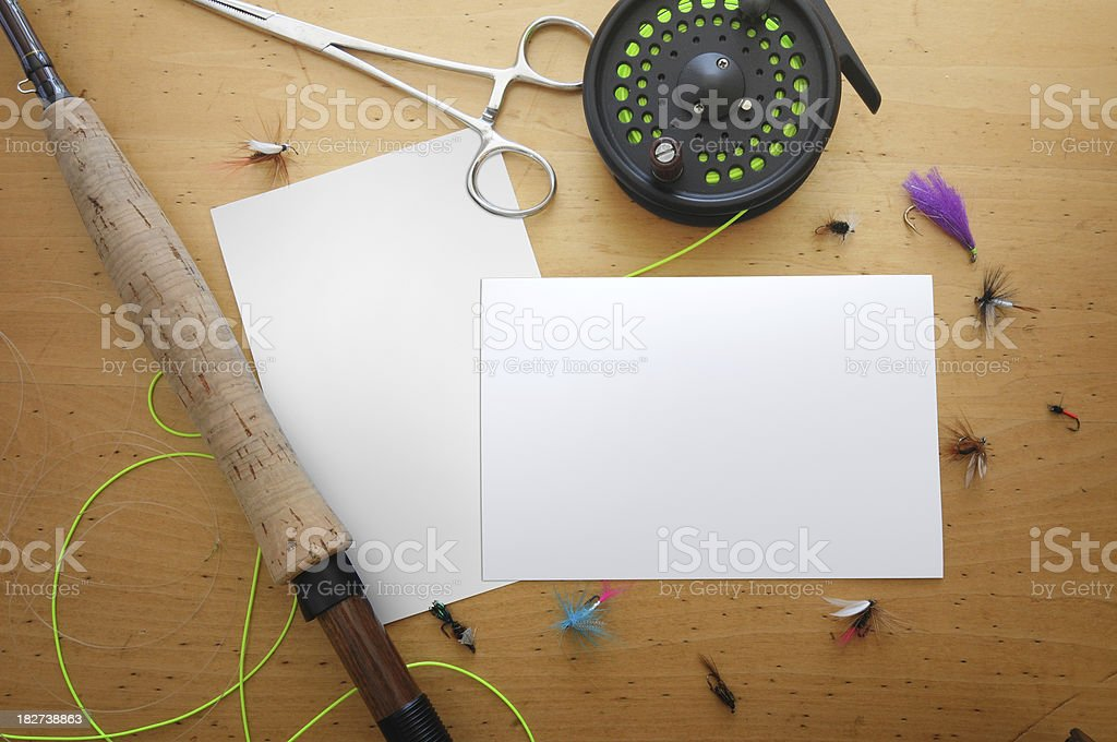 Two blank photos on a fly tying table stock photo