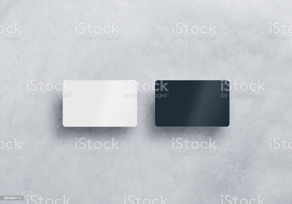 Two blank plastic business cards mockups set isolated stock photo