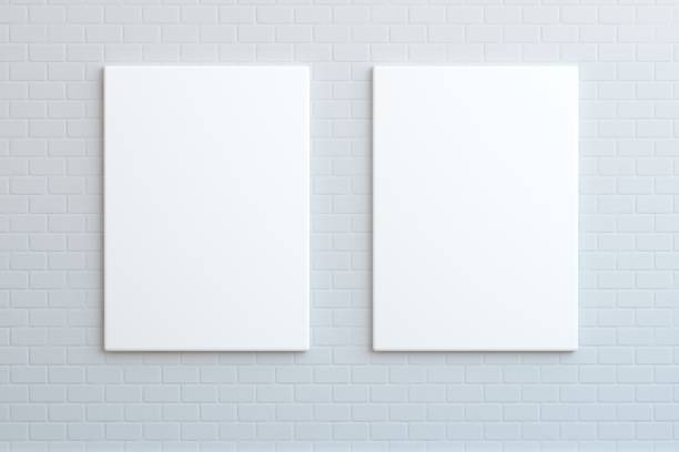 Mock-dois cartazes em branco na parede, se - foto de acervo