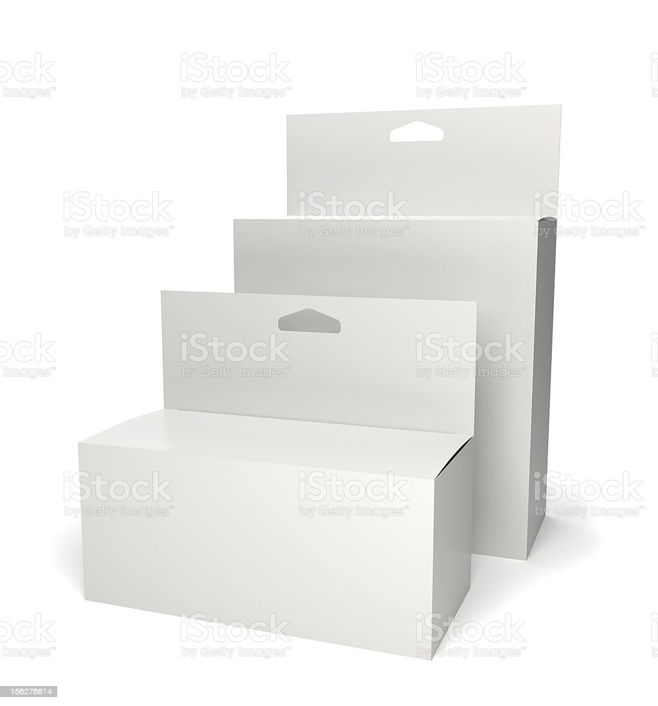Two blank retail product packages isolated on white royalty-free stock photo