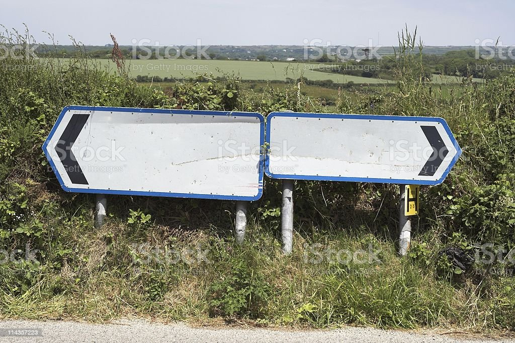Two Blank Road Signs Pointing In Opposite Directions stock photo