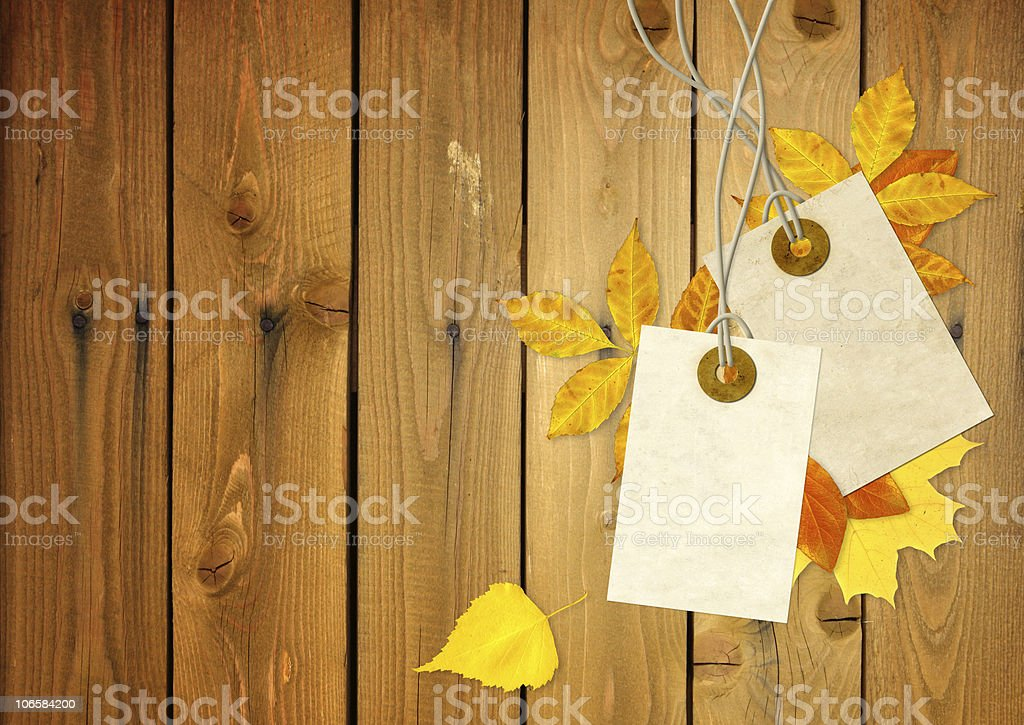 Two blank tags and yellow leaves on a wooden table royalty-free stock photo