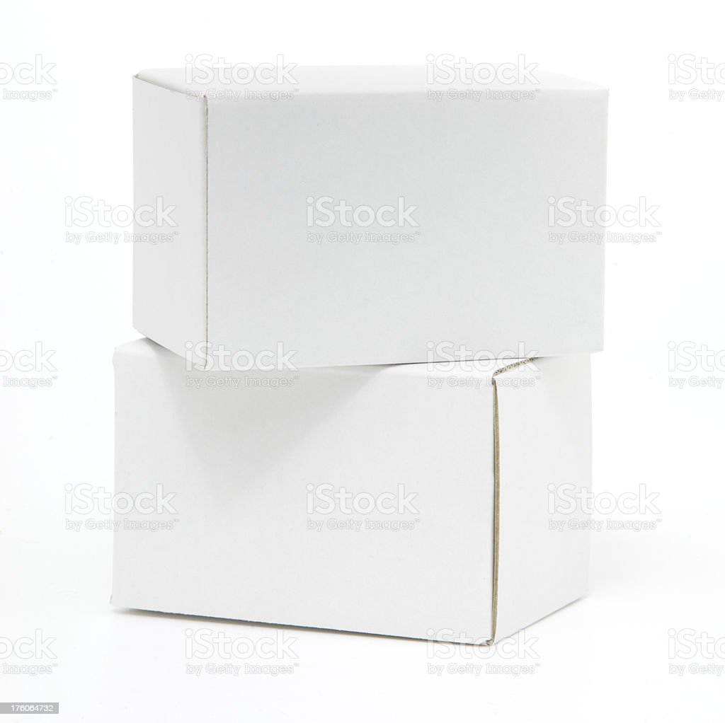 Two blank white cardboard boxes isolated royalty-free stock photo