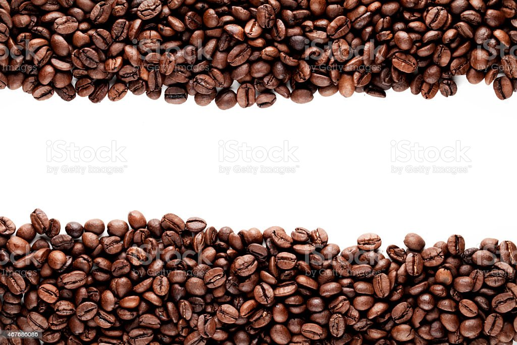 Two blocks of coffee beans with a white path in between stock photo