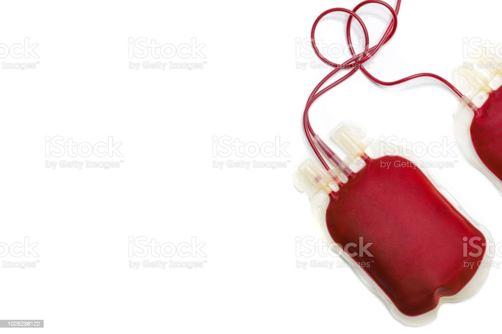 two blood bags stock photo