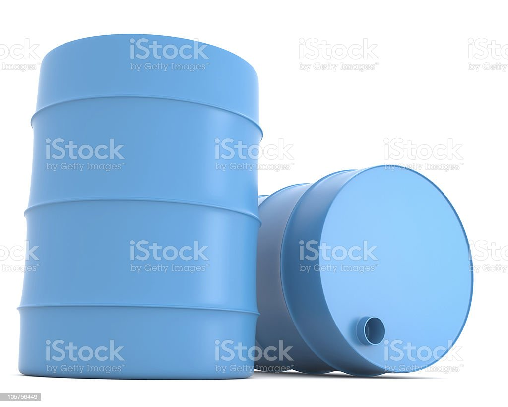 Two blue barrels royalty-free stock photo