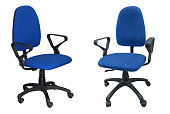 two blue chair computer
