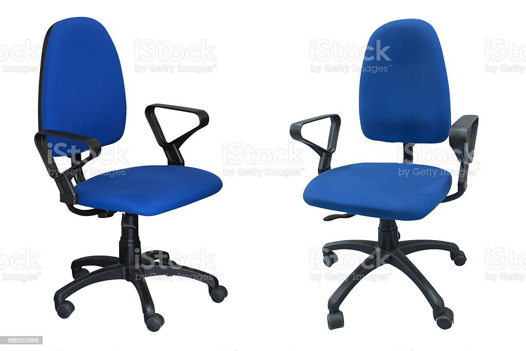 two blue chair computer stock photo