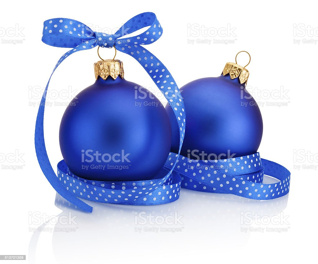 Two blue Christmas ball with ribbon bow Isolated on white stock photo