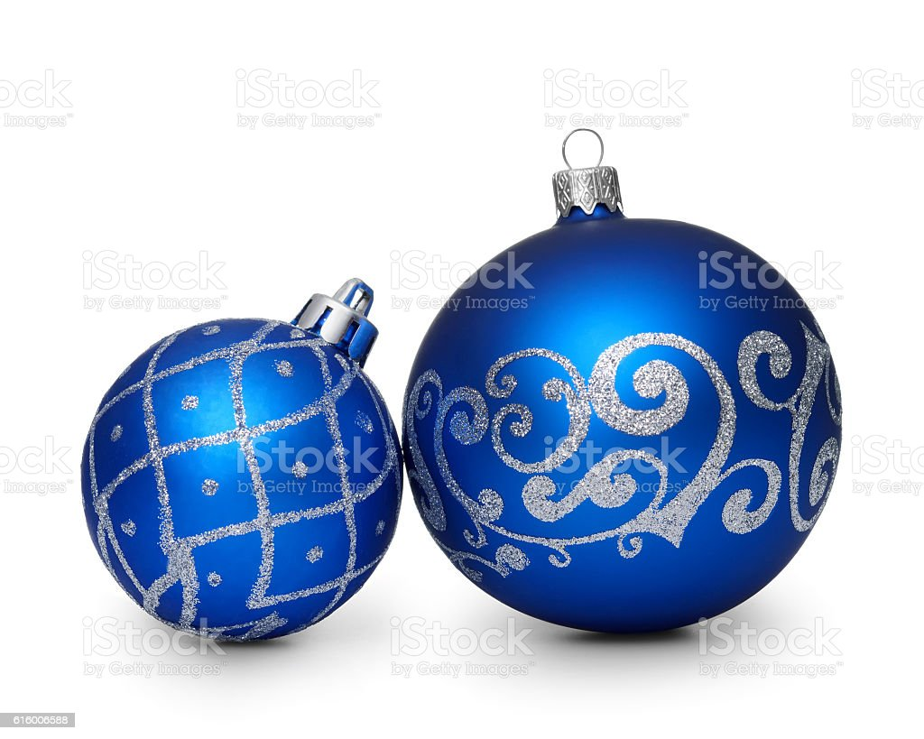 Two blue christmas balls isolated on white background stock photo