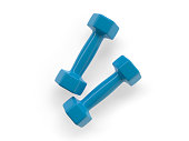 two blue dumbbells for fitness and sports - 3LB - 3d illustration - rendering