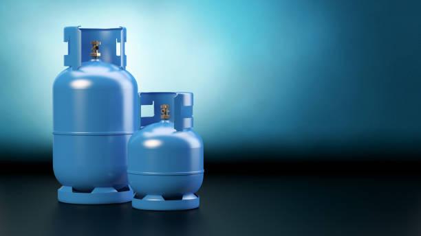 두 개의 파란색 가스 병 - 원기둥 뉴스 사진 이미지
