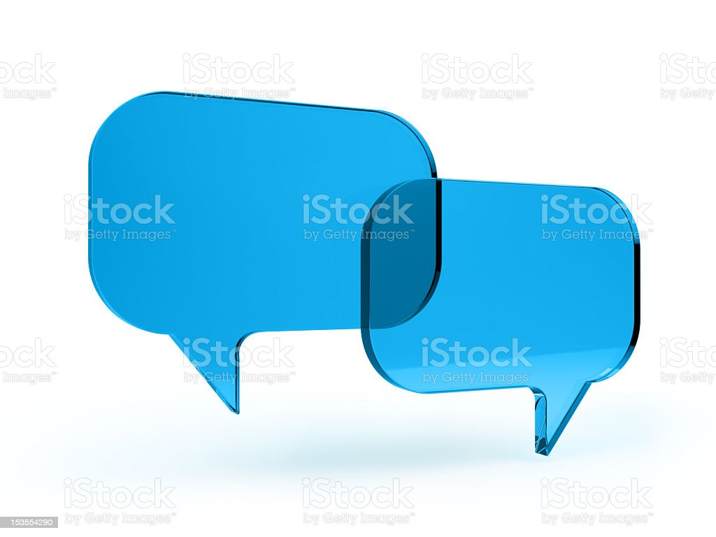 Two blue images of bubble speech stock photo