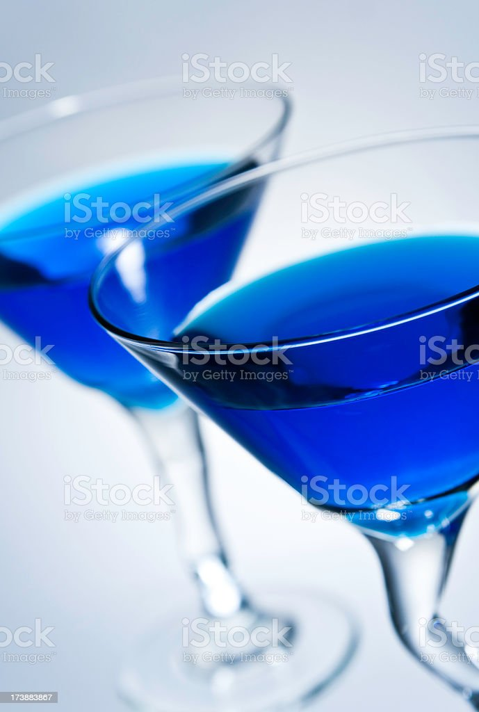 Two Blue Martinis stock photo