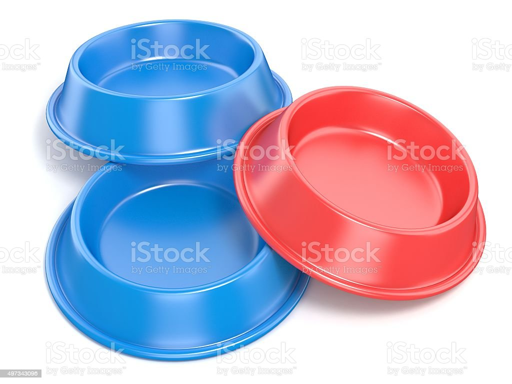 Two blue pet bowls for food and one red. 3D stock photo