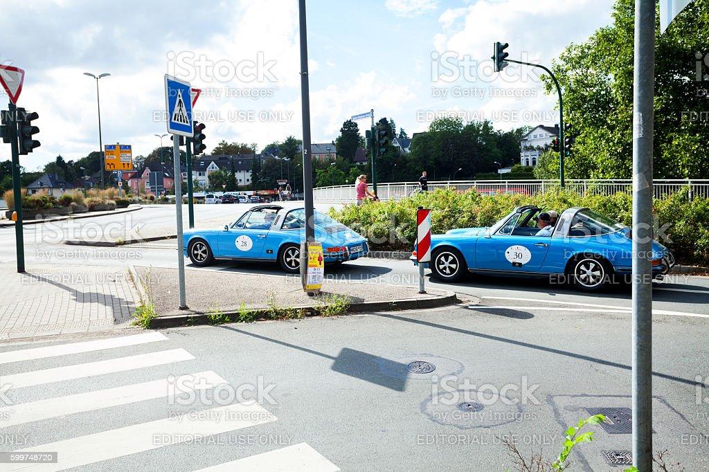 Two blue Porsche 911 oldtimers stock photo